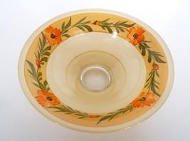 "Vintage Glass Bowl Hand Painted Orange Flowers Art Deco 10"" Serving Dish  - $44.50"