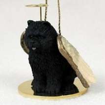 CHOW ANGEL DOG CHRISTMAS ORNAMENT HOLIDAY Figurine Statue Black memorial... - $14.99