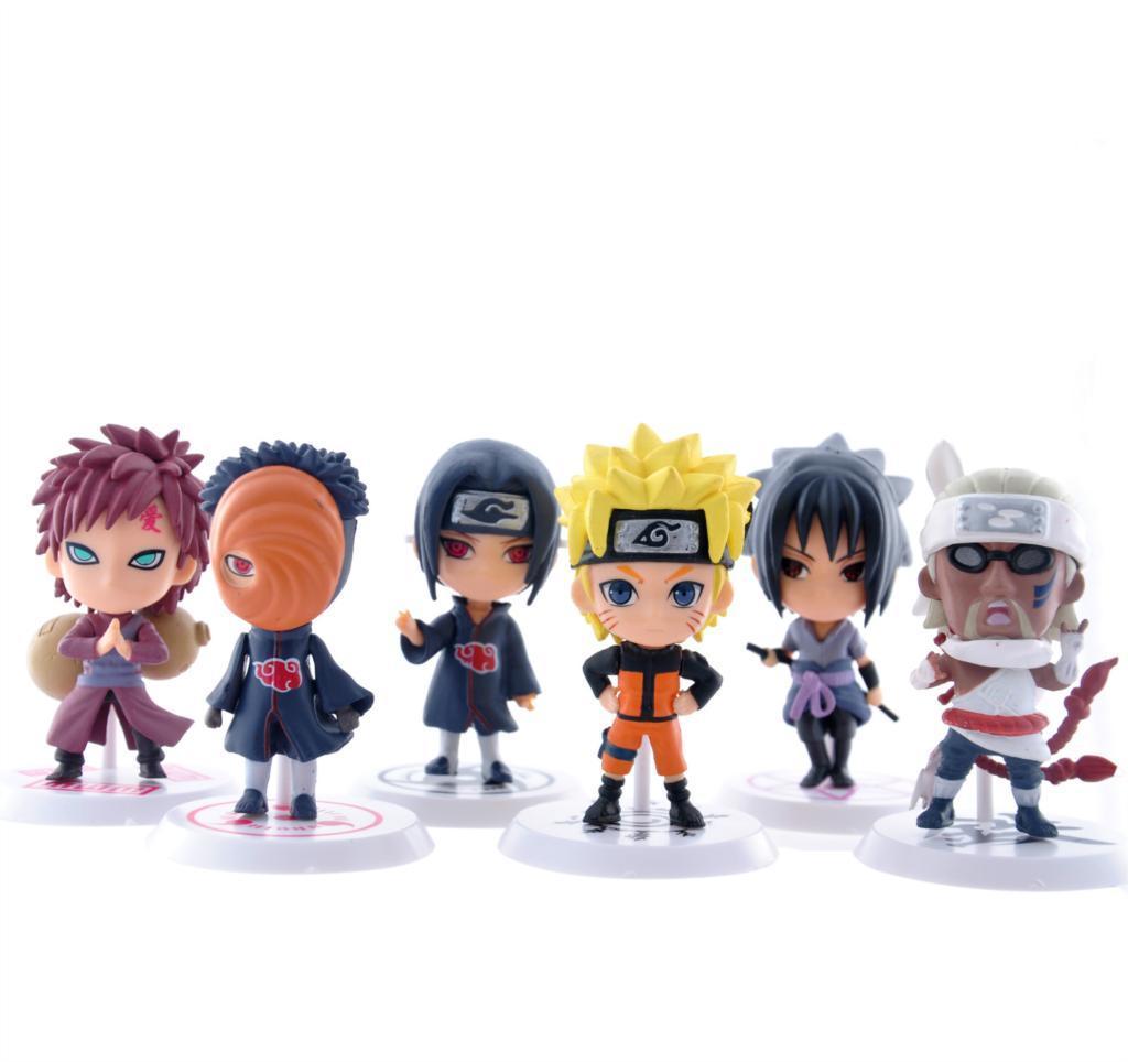 6pcs naruto sasuke collectible action figures car decoration toys