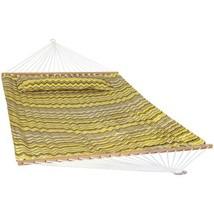 Sunnydaze 2-Person Fabric Spreader Bar Hammock and Pillow - Yellow Gray ... - $79.14