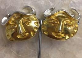 Vintage Signed Christian LaCroix Aztec Face Clip Earrings Gold Silver Pl... - $145.03