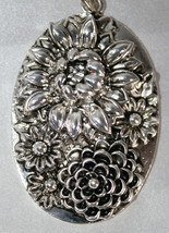 Antique Silver Oval Pendant, Flower Pendant, Large Tibetan Silver Pendant - $4.00