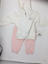 Baby Girls 3 Piece Set Tracksuit Pink 6 Months Long Sleeve Velour Kanz NEW - $26.02