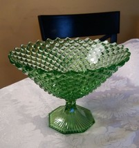 """Westmoreland ENGLISH HOBNAIL GREEN COMPOTE 5 1/4"""" Tall x 7 3/4"""" dia Oct ... - $48.00"""