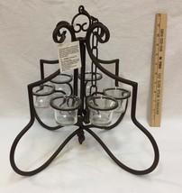 Chandelier Votive Candle Holder Prestige Brown Metal w/ Chain Scrolled F... - $39.59