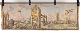 "Vtg Belgium Airplane Castle Tapestry Rug Textile Art Wall Hanging 18.5"" ... - $49.49"