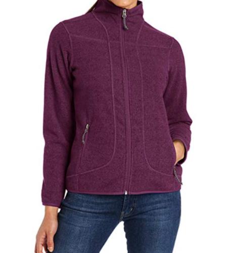 Large 12-14 Women's White Sierra Jacket Three Creeks Fleece Full Zip Purple NEW