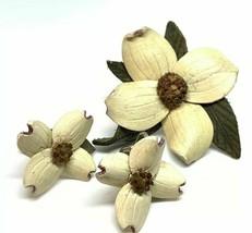 Vintage Hinterland Leather Floral Earring Brooch Set Demi Parure Artist ... - $19.79