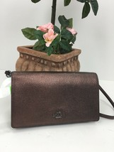 Coach Metallic Foldover Clutch Phone Crossbody Bag Oxblood Leather B25 - $98.95