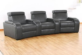 MYCO Furniture Meadows Modern Grey Leather Air 3-Seat Recliner Theater Set - $2,550.00