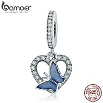 BAMOER 925 Sterling Silver Crystal Butterfly with Heart Shape Charm fit ... - $22.16