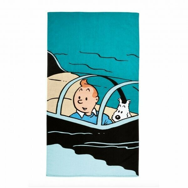 Tintin large Shark Submarine Beach towel  80 cm x 160 cm