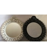 "Vintage Wall Mirrow Black And White Round Shape 11""x12"" - $23.38"