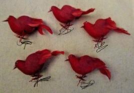 Vintage RED MUSHROOM BIRDS Craft Artifificial FLOCKED Set of Five - $4.99