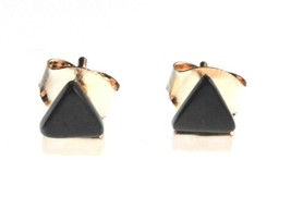 NEW Edison 14K Gold-Plated Black Onyx Stone Triangle Stud Post Earrings NWT