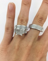 Men's Women's Trio Engagement Ring Set Round Cut CZ White Gold Plated 925 Silver - $186.99