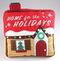"""Home For The Holiday's Wondershop 12"""" Red Accent Pillow Christmas House NWT"""