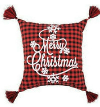 "Buffalo Check Throw Pillow Merry Christmas Snowflake Tassel 17""x17"" Red ... - $42.45"