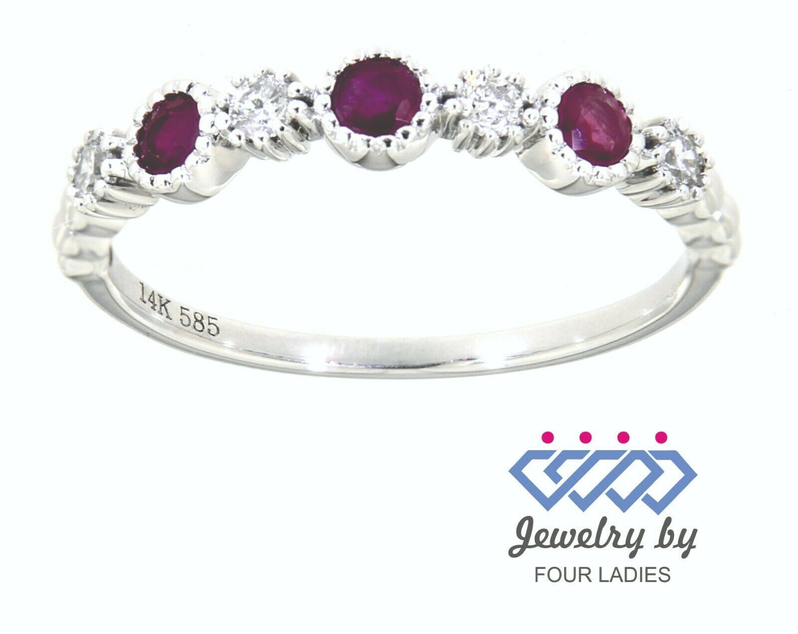Primary image for Ruby Round Gemstone 14K White Gold 0.31 Carat Designer Diamond Band Fine Jewelry
