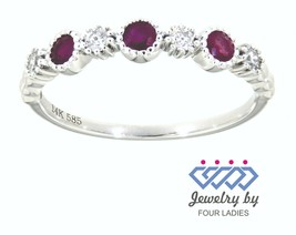 Ruby Round Gemstone 14K White Gold 0.31 Carat Designer Diamond Band Fine... - $859.00