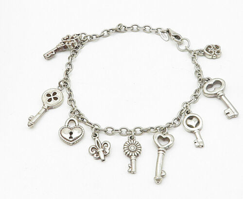 925 Sterling Silver - Vintage Dangling Assorted Charm Chain Bracelet - B5133