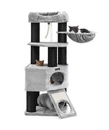 FEANDREA Cat Tree, Large Cat Tower with Fluffy Plush Perch, Cat Condo wi... - $138.42