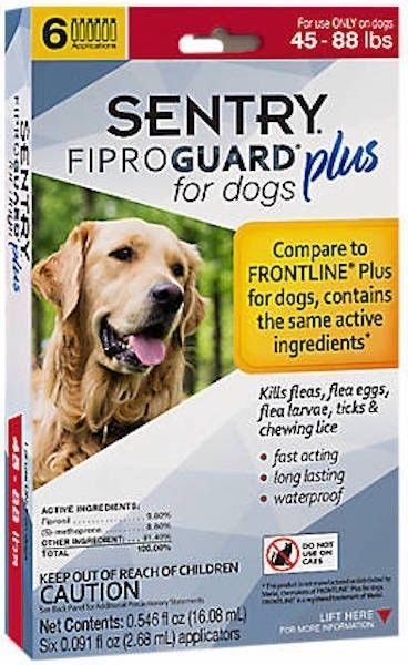 Sentry 6 Count Fiproguard Plus For Dogs Squeeze-on (45-88 pound)