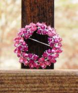 Vintage Crown Trifari Circle Wreath Brooch, Pink Rhinestones - $245.00