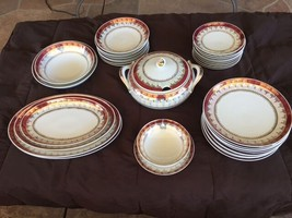 Dinnerware: Eliane by Schmidt (Brazil )-35 Pieces-White w/Red Band,Filig... - $299.95