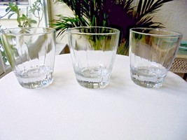Set of 3 Clear Crystal Heavy Double Old Fashioned Rocks Glasses - $32.66
