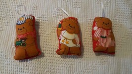 3 VINTAGE FINISHED CUT N SEW COTTON TEDDY BEAR CHRISTMAS ORNAMENTS,PLUSH... - $4.94