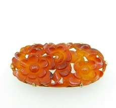 14k Gold Chinese Export Carved Genuine Natural Carnelian Pin (#J5060) - $250.00