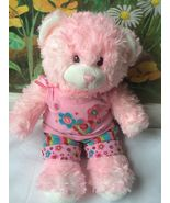 Build a Bear Pink Stuffed Plush Bear in Pink Outfit 15 inches  - $28.71