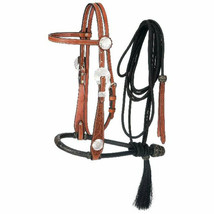 """5/8"""" Premium Leather Floral Browband Headstall W/ Two Tone Bosal Cord Me... - $118.75"""