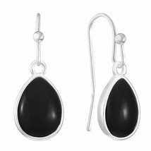 Liz Claiborne Women's Black Tear Drop Earrings Silver Tone New - $14.84