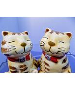 "Pair TABBY TIGER CATS SALT & PEPPER SHAKERS Unused 4"" tall Ceramic - $20.90"