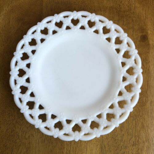 "Primary image for WESTMORELAND WHITE MILK GLASS PLATE 8 1/2""FORGET ME NOT PATTERN"
