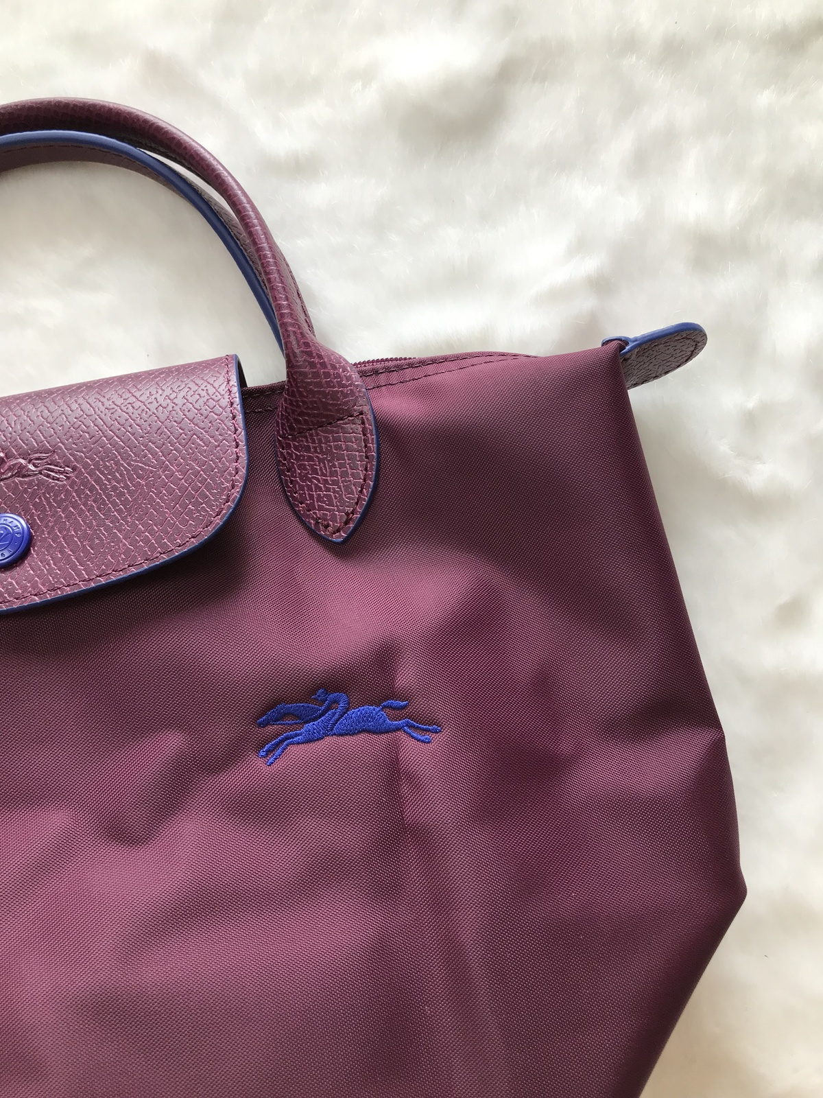 Longchamp Club Collection Horse Embroidery Short Handle Mini Handbag Plum