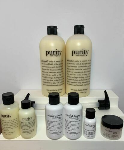 Philosophy (7) Lot Purity 32 FL OZ One Step Facial Cleanser Microdelivery Peel