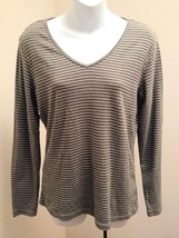 Gap L Top Green Striped V Neck Fitted Long Sleeve Cotton Stretch Knit Shirt - $14.68