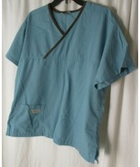 Urbane Crossover Sz M Scrub Shirt Top Blue Brown Trim Medical Nurse - $8.31