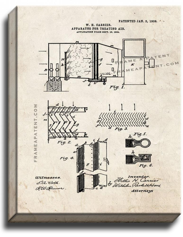 Primary image for Apparatus For Treating Air Patent Print Old Look on Canvas