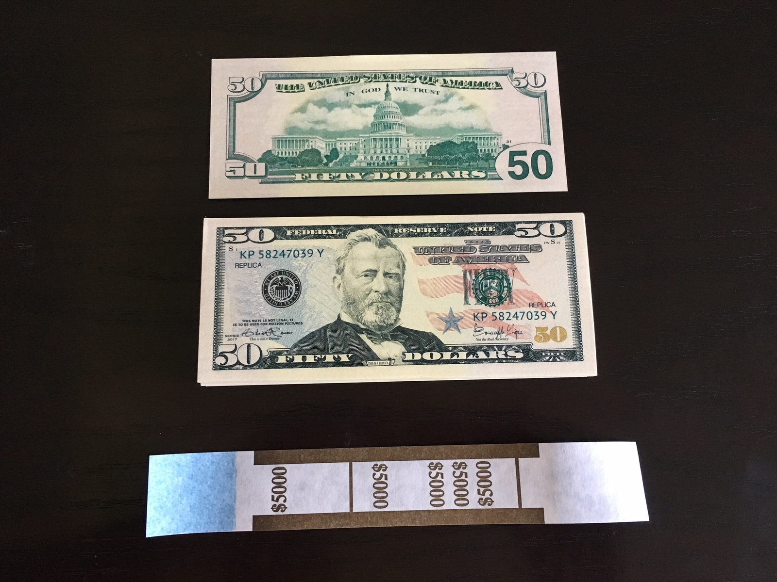 5.000 PROP MONEY REPLICA 50s All Full Print For Movie Video Films etc.