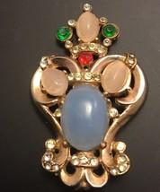 Vintage Rhinestone Moonstone Crown Pin Goldtone Brooch - $48.31