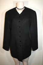 CITI YANSI FUGEL Sz 8 Black Shimmery Dressy Wool Blend Lined Tunic Jacket - $24.71
