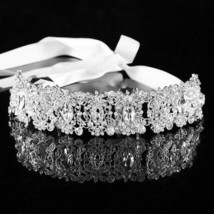 Handmade Hairband Ribbon Silver Sheet Wedding Bride Chain Strass Head Co... - $12.86