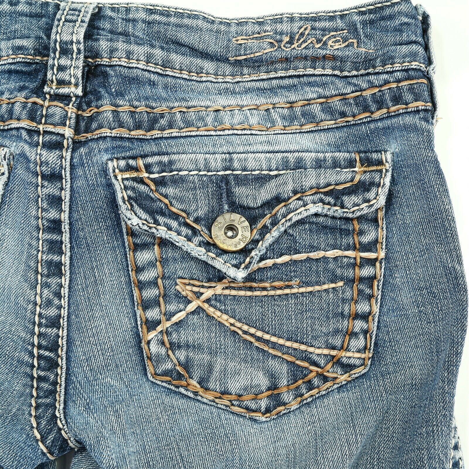 Primary image for Silver McKenzie Light Wash Slim Boot Cut Flap Pocket Denim Jeans 24 24x30