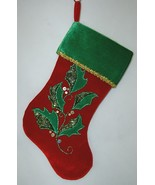 Sterling 220100181 Red Green Holly Leaves 16 Inch Christmas Stocking - $14.95