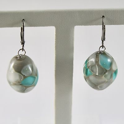 EARRINGS ANTICA MURRINA VENEZIA MURANO GLASS HANGING OVALS GREEN SPOTTED