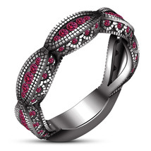 14k Black Gold Plated 925 Silver Women's Engagement Ring Round Cut Pink ... - $88.99